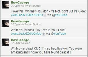 Boy George's Video Playlist to Honor Whitney Houston