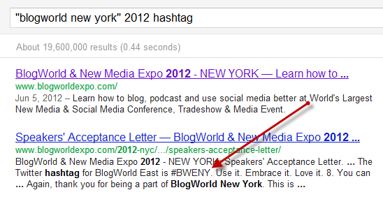 Searching for the BlogWorld East Hashtag